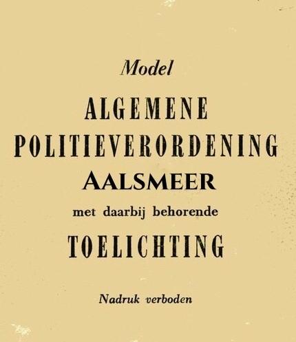 Algemene Plaatselijke Verordening Aalsmeer 2017